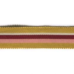 Ripsband 25mm gestreift - senf creme bordeaux rosa