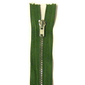 Metall Reißverschluss 12cm - Grün/Silber