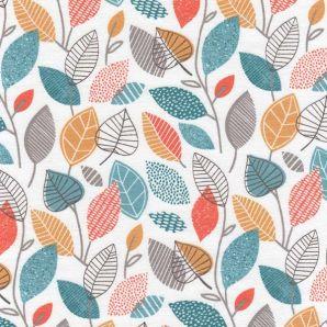 Bio Jersey Autumn Leaves - Cremeweiß