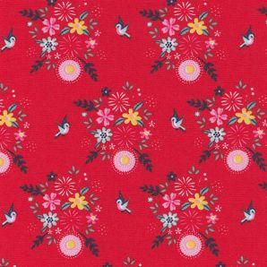 Popeline Birdy Flowers - Rot