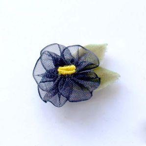 Organza Blüte 20mm - schwarz