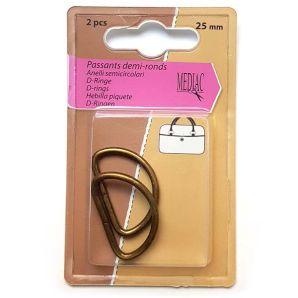 D-Ring 2er Set 2,4cm - Bronze matt