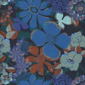 Viskose dark Blossom- Marineblau