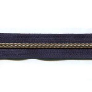 Endlos Reißverschluss metallisiert - Dunkelblau
