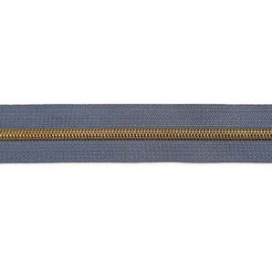 Endlos Reißverschluss metallisiert - Jeansblau