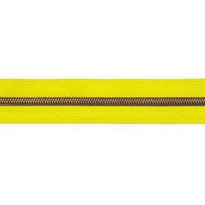 Endlos Reißverschluss metallisiert - Neongelb