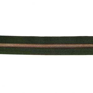 Endlos Reißverschluss metallisiert - Tannengrün