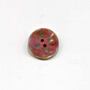 Perlmuttknopf 2-Loch Ornament 17mm