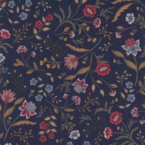 Viskose Flowers Loraine - Marineblau