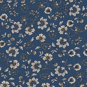 Viskose Flowers Caroline - Blau