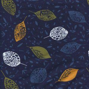 French Terry Autumn Leaf - Dunkelblau