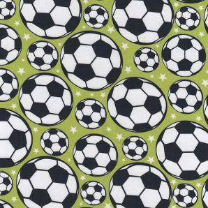 Popeline Fußball Sternchen - Hellgrün