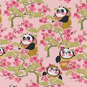 Popeline Kungfu Panda Familie - Rosa