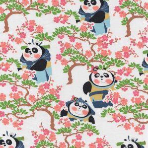 Popeline Kungfu Panda Familie - Weiß