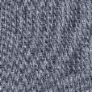 Reststück Leinen Baumwolle Fischgrät - Blau