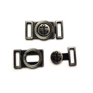 Metallverschluss 2-teilig Anker 1 cm - Schwarz
