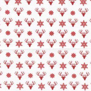 Popeline Deer & Snowflakes - Weiß