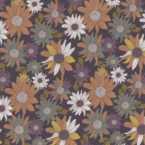 Bio Popeline Herbstblumen - Smoke
