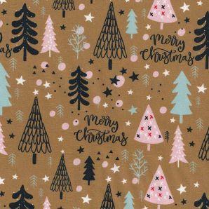 Popeline Merry X-Mas Trees - Ocker