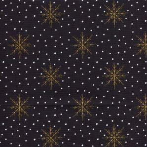Popeline Snowflake Dots - Schwarz