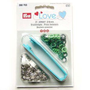 Prym Love Jersey Druckknöpfe - Ø 8mm, grün