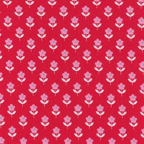 Popeline Rasberry Flowers - Rot