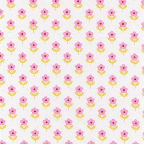 Popeline Rasberry Flowers - Weiß