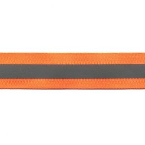 Reflektorband 25mm - Orange/Silber