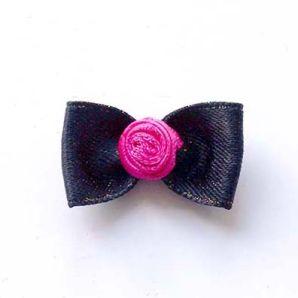 Schleife mit Rose 30mm - schwarz