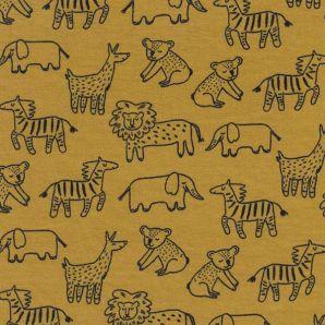 Reststück Bio Soft Sweat happy Animals - Mustard