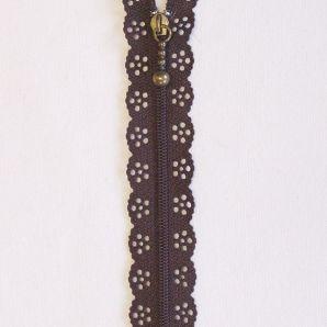 Reißverschluss mit Zierspitze 20cm - Braun