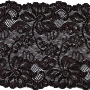 Spitze elastisch Wildblumen 15cm - Schwarz