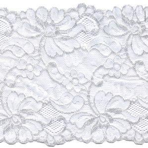 Reststück Spitze elastisch Wildblumen 15cm - Creme
