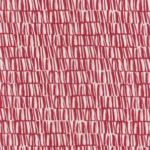 Viskose Leinen Structures - Rot/Cremeweiß