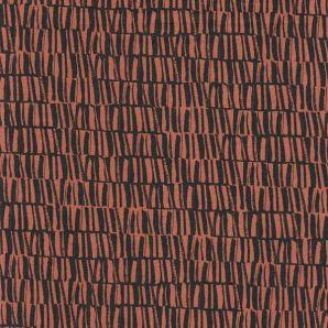 Viskose Leinen Structures - Terracotta/Schwarz