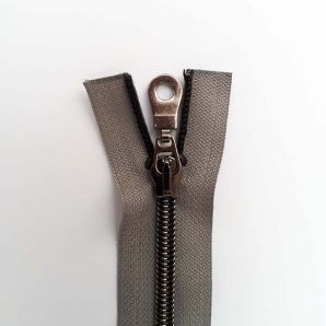 Reißverschluss teilbar metallisiert 40cm - Grau/Schwarz