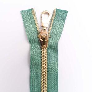 Reißverschluss teilbar metallisiert 40cm - Mint/Gold