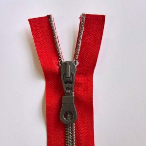 Reißverschluss teilbar metallisiert 40cm - Rot/Anthrazit