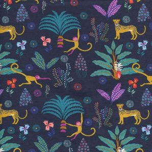 Reststück Jersey Tropical Forest Animals - Marineblau
