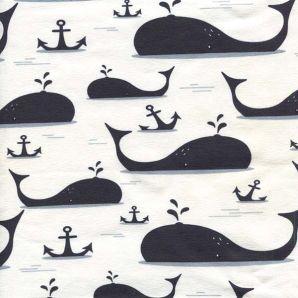 Jersey Wale & Anker - Cremeweiß