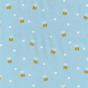 Popeline wild Bee Friends - Hellblau