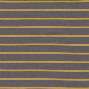 Reststück Yarn dyed Sweat Stripe - grau/gelb