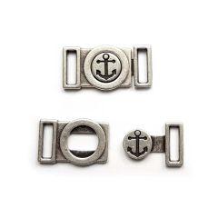 Metallverschluss 2-teilig Anker 1 cm - Silber