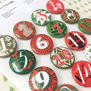 Adventskalender Buttons - Rot/ Grün