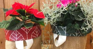 Winterlicher Übertopf oder Nikolaussäckchen